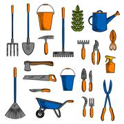 Various of gardening tools and equipments symbols Piirros
