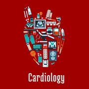 Cardiology symbol with flat silhouette of a heart - stock illustration