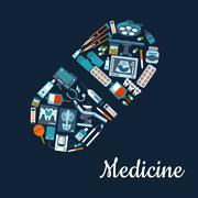 Medical flat icons in a shape of a tablet symbol - stock illustration