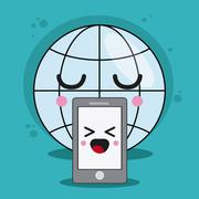 Global and smartphone icon. Kawaii and technology design. Vector Stock Illustration