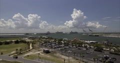 Aerial of Parking Lot In Port Canaveral Stock Footage