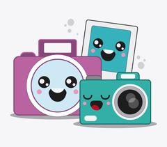 cartoon icon set.  Kawaii and technology design. Vector graphic - stock illustration