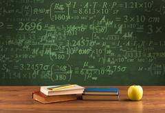 Back to school blackboard with numbers - stock photo
