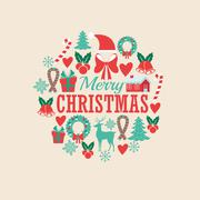 Decoration icon set. Merry Christmas. Vector graphic Stock Illustration