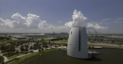 Aerial Of Sail Shaped Building In Port Canaveral Stock Footage