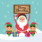 Santa and elf cartoon icon. Merry Christmas. Vector graphic - stock illustration