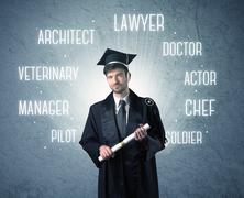 Graduete person looking for professions - stock photo