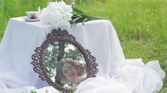 Red wedding bouquet - stock footage