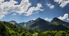 Mountains Timelaps of Krasnodar region, Krasnaya Polyana, red glade, Sochi Stock Footage