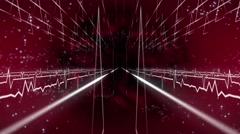 Seamless abstract animation zooming mystic red space fantasy path pulse light Stock Footage
