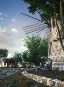 Don Quixote and windmill conception illustration 3d composition - stock illustration