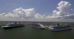 Aerial Of Ships In Dock In Port Canaveral Stock Footage