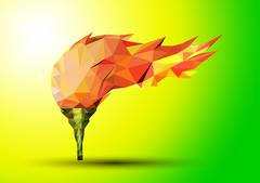 Torch on a green background red in the geometric style  - stock illustration