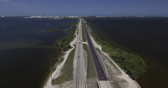 Aerial of Highway at Cocoa Beach Florida Stock Footage