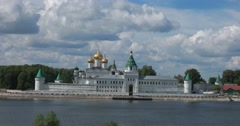 The Ipatiev Monastery as seen from across the Kostroma River. Stock Footage
