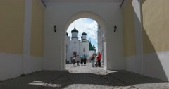 The entrance to St Trinity Ipatiev monastery.  Kostroma Stock Footage