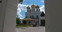 View of the St Trinity Cathedral. Ipatiev monastery. Kostroma Stock Footage