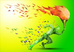Runner with Flame - stock illustration