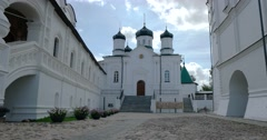 Porch Of The  Cathedral. The Church Of The Blessed Virgin.  Ipatiev monastery. Stock Footage