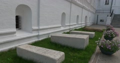 Graves on the territory of the Holy Trinity Ipatiev monastery.  Kostroma Stock Footage