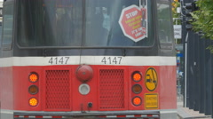 Rear of streetcar travelling away from camera. Toronto, Canada. Stock Footage