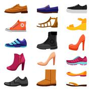 Footwear Colored Icons Set - stock illustration