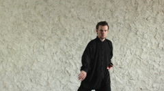 Training in the hall. Man practicing elements of tai chi. Stock Footage
