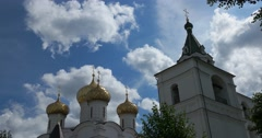 Holy Trinity Ipatiev monastery. Dome of the Cathedral and belfry.  Kostroma Stock Footage