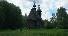 The Museum of wooden architecture. Church. Kostroma Stock Footage