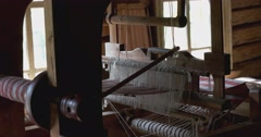 Household items in the hut of the peasant. Loom. Kostroma Stock Footage
