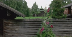 The wooden architecture. Museum under the open sky. Kostroma Stock Footage
