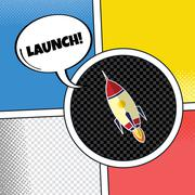 rocket ship launch theme - stock illustration