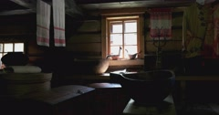 Household items in the hut of the peasant. Kostroma Stock Footage