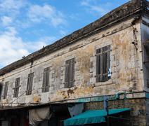 Historic facade in port louis mauritius - stock photo