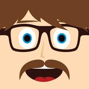 geek mustache guy cartoon character - stock illustration