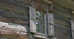 Wooden architecture. House.  Window. Kostroma Stock Footage