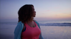 Beautiful voluptuous Ethnic African American female doing gentle fitness Stock Footage