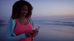 Plus size Ethnic African American female doing slimming workout to music Stock Footage