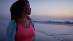 Voluptuous Ethnic African American female doing gentle fitness walking  Stock Footage