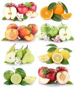 Fruits apple orange lemon nectarine apples oranges fresh fruit collection iso Stock Photos