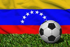 Soccer Ball on Grass with Venezuela Flag Background, 3D Rendering - stock illustration
