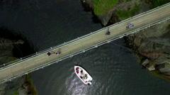 Scenic La Manche Harbour with suspension bridge crossing the bay Stock Footage