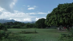 Slow pan left of lush greenery in Mauritius - stock footage