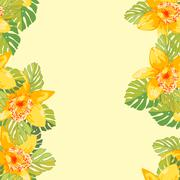 Seamless pattern of exotic flowers Stock Illustration