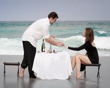 Romance Engagement Couple Love Beach Ocean Lovers Releationship Stock Photos