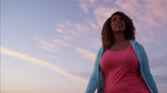 Plus size Ethnic African American female doing gentle slimming workout walking Stock Footage