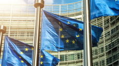 European Union flags in front of European Commission building. Brussels, Belgium - stock footage