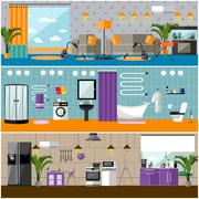 Vector set of house interior banners. Apartment with furniture, living room - stock illustration