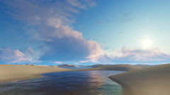 Unique water lagoons among sand dunes in Brazil desert 4K Stock Footage