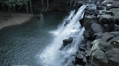 Static shot of deserted waterfall in Mauritius Stock Footage